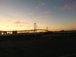 Ambassador Bridge at Sunrise: Detroit International Marathon