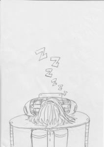 "drawing of person face-down on table with sleep ""z's"" above their head"